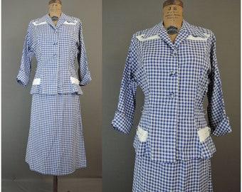 Vintage 1950s Gingham Suit, fits 40 Bust, 34 waist, Volupt Cotton Summer Suit late 1940s
