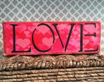 Valentine's LOVE wooden sign