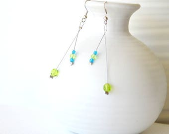 Long Dangle Earrings, Mismatched Silver Earrings for women, Turquoise, Lime Green Earrings, Beaded Glass Earrings, Unusual Beaded Earrings