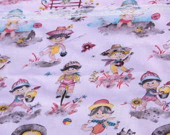 Vintage pink fabric with cute children playing, vintage fabric, suitable for quilting, crafts, upcycle, recycle, repurpose, 1970s or 1980s?