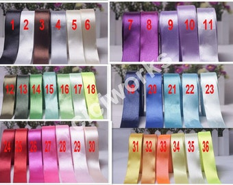 Full 36 colors 1 roll 25yards 25mm Signle Faced Satin Ribbon Solid Color Weddings, crafts, hair bows , Pick your colors
