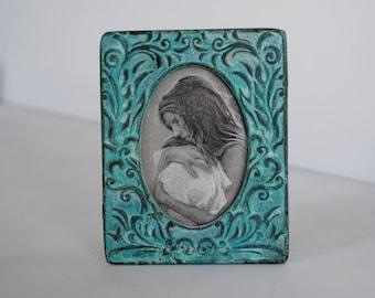 Motherhood Drawing in Turquoise Frame