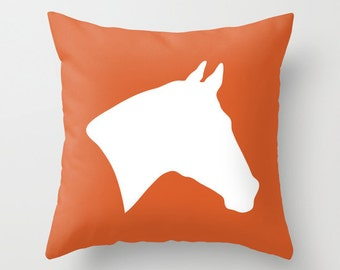 Horse Pillow Cover - Orange - Equestrian Rustic Decor - Accent Pillow - Decorative Pillow - Cabin Decor - includes insert