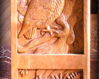 Buho y Sparrow talla en madera, talla en madera hecha a mano, 48 x 12,5 en.