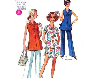 70s Mini Dress, Tunic Top, Shorts or Pants Pattern Simplicity 8801 Womens Size 10 Petite Vintage Sewing Pattern