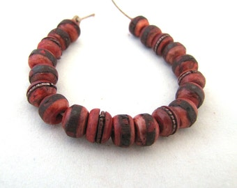 Red Yak Bone Tibetan Mala Beads Inlaid with Coral Turquoise and Brass  and Copper Set of 20