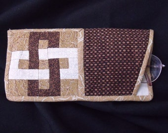 Brown Puzzle Quilted Eyeglass Case