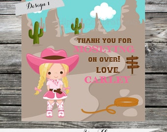DIY Printable Favor Tags- Yee Haw -Thank You Tag -Gift Tag -Baby Shower -Birthday-Sticker-Cowgirl -Western Birthday -Cow girl party
