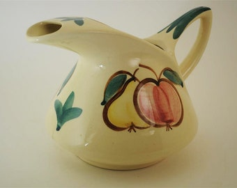 Vintage Purinton Pottery Pitcher Apple Pear Pattern Yellow Slip Ware 1950's