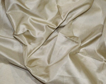 Fine Indian silk taffeta in pale khaki colour , Fat quarter-TF 103