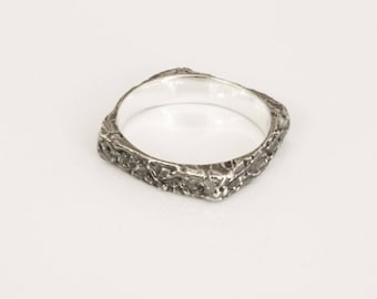 Square midi ring silver pinky stacking  minimalist design, decorated with unique handmade texture.