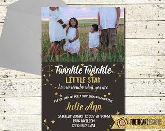 Twinkle Twinkle Little Star Baby Shower Invitation, Baby Shower, Shower Invitation, Photo Invitation, Gender Neutral, Gold, Card. Digital