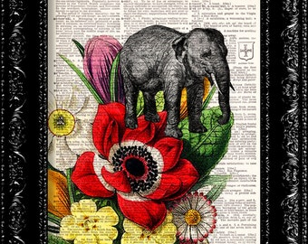 Hidden Elephant Flower Print -  - Vintage Dictionary Print Vintage Book Print Page Art Upcycled Vintage Book Art