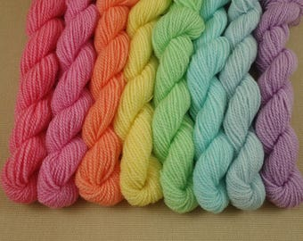 Mini Skeins Pastel Rainbow - Set of 8 - Hand Dyed Fingering Sock Weight Yarn - 100% Non-Superwash Fine Organic Merino Wool