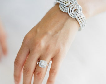 Art Deco Cuff Bracelet, Swarovski Crystal Rose Gold Bridal Cuff Bracelet, Rose Gold Bridal Cuff Bracelet, Art Deco Wedding Bracelet