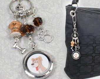 Dog Memorial Key Chain / Pet Lover Memorial Gift / Pet Loss Bag Charm Clip