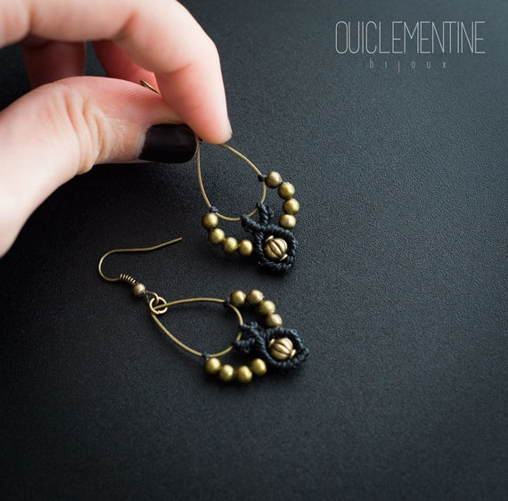 Bohemian black earrings