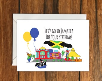 Let's Go To Jamaica for your Birthday Blank greeting card, Holiday Card, Gift Idea A6