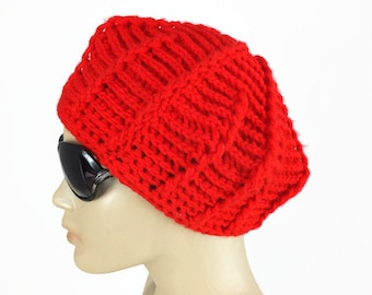 Bright Red Womens crochet hat, Red knitted beret , winter fashion hat, gift for her,