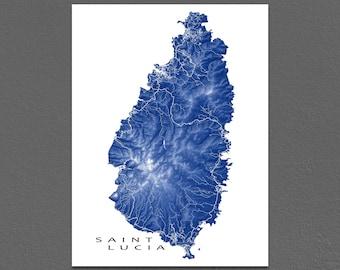 Saint Lucia Map Print, St Lucia Art, Castries, Caribbean Island