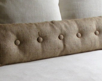 Burlap with Natural Burlap buttons sofa or long bed pillow 36X11, 27X11