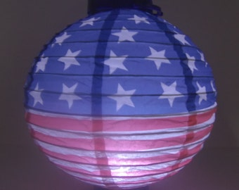 Set of 3 Patriotic July 4th Stars & Stripes LED Paper Lantern American Flag Party Decoration Battery Power 2-AAA