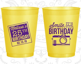 25th Birthday Frosted Cups, Smile, its your birthday, vintage camera, Frosted Birthday Cups (20053)