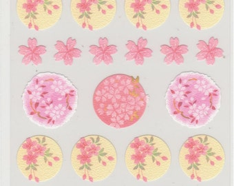 Cherry Blossom Stickers - Japanese Paper Stickers - Hallmark - Reference A3054-57