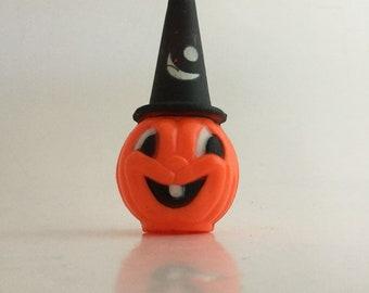 Vintage Halloween Jack-O-Lantern Pumpkin With Wizard or Witch Hat Hard Plastic