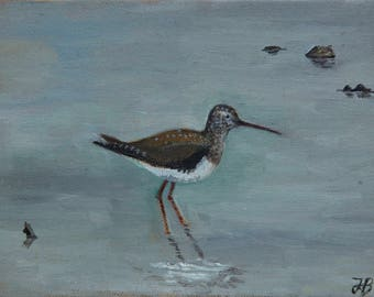 "Green Sandpiper, Slimbridge, small unframed original oil painting, canvas board 5x7"""