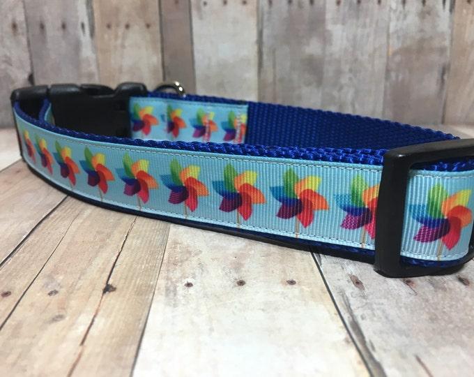 "The PJ | Designer 1"" Width Dog Collar | CupcakePups Collars | Pin Wheels - Medium/Large Dog Collar"