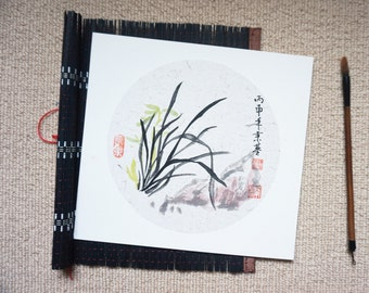 Original Chinese Ink and Wash Painting - Zen Orchid, 蘭花, 25x27cm, Chinese Painting, Wall Art, Home Decor, Great Gift!
