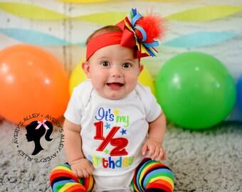 It's my 1/2 Birthday - Girls Rainbow Half Birthday Applique White Shirt & Matching Hair Bow Set with Puff with Add on Rainbow Leg Warmers