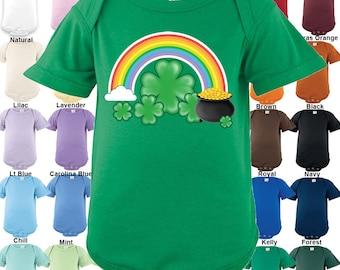 Rainbow Pot of Gold Shamrock Bodysuit - Boys / Girls / Irish / St. Patrick's day