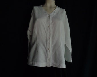 Vintage blouse XL white linen  with buttons