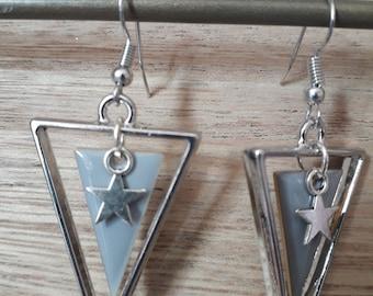 gray silver triangle earrings