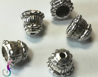 10 8 x 9 antique silver metal cone bead caps