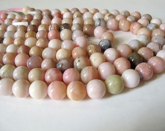 Peruvian opal round beads, Natural Pink Opal beads, Pink Smooth round beads 12mm