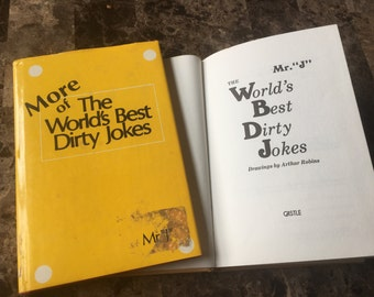"""Vintage: The World's Best Dirty Jokes by Mr """"J"""" and More of the World's Best Dirty Jokes by Mr """"J"""", published in 1976 and 1979, 2-book set"""