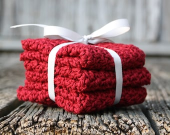 Red Cotton Dishcloths / Crocheted Dish Rags / Red Kitchen Cloths / 8 x 8 Crocheted Dish Rags / Handmade Dish Cloths