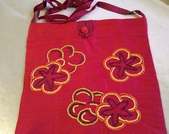 Hand Embroidered Silk Bag w/ Frog Closure