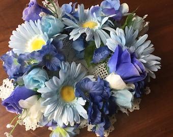 Center piece baby blue daisy with dark blue hydrangeas 221