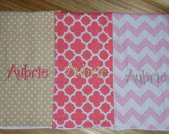 3 Custom Monogram Burp Cloths - Pink Chevron, Beige Polka Dots, Coral Quatrefoil