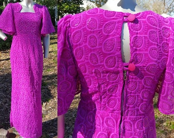 Vintage Dress, Evening Gown, Bridesmaid Dress, 80s Dress, 80s Prom Dress, Embroidered Dress, Sparkly Dress, Fuchsia Dress, Maxi Dress Size 4