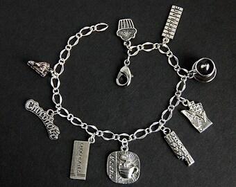 Chocolate Bracelet. Chocolate Lover Charm Bracelet. Chocoholic Bracelet. Food Bracelet. Silver Bracelet. Food Jewelry. Handmade Bracelet.
