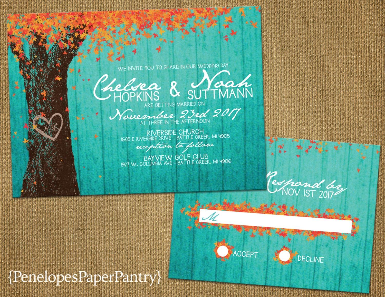 Elegant Turquoise Rustic Fall Wedding InvitationOak