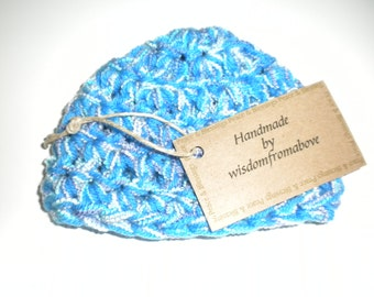 Baby Hat Crochet Blue Soft Infant Photography Prop
