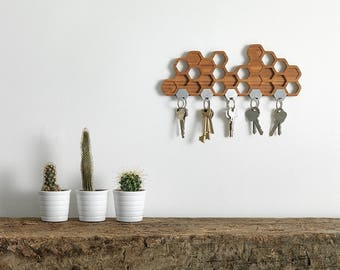 Honeycomb Magnetic Key Holder - A Unique Bamboo Wall Mounted Hook And Decorative Wooden Storage Rack