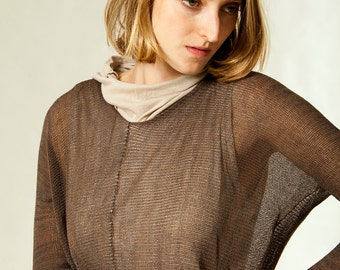 Sheer long sleeve blouse, Transparent Brown shirt, knitted round neck top