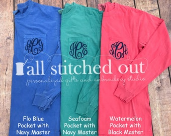 Monogram Comfort Color Long Sleeve Pocket Tee - Pigment Dyed - Monogram Tee - Monogrammed T-shirt - Personalized Tee - Personalized shirt